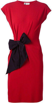 ~ LANVIN ETE 2015 RED BOW DETAIL PENCIL DRESS (INSANELY PRETTY!) XS