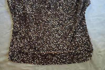 ~ NWT PARKER GLIMMERY GOLD MAUVE SEQUIN CUT-OUT SHOULDER TOP (OH SO GLAM!) ~ XS