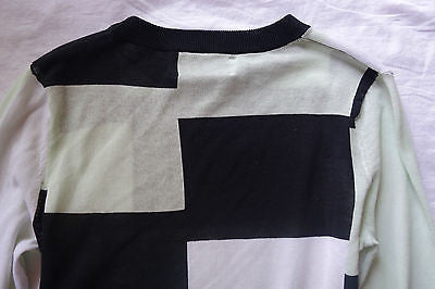 ~ A.L.C. BLACK WHITE & LIGHT BLUE COLORBLOCK SWEATER (COOL-GIRL UNIFORM!) XS