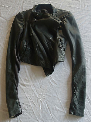 ~ RICK OWENS DARK GRAY BROWN CROPPED LEATHER BIKER JACKET (COOL-GIRL STAPLE!) 38