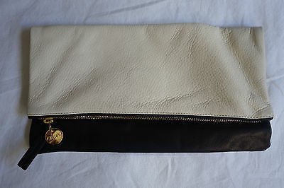 ~ CLARE VIVIER CREAM & BLACK FOLD OVER ENVELOPE CLUTCH ~ (CHIC MEETS COOL!!)