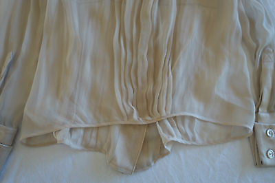 ~ ALBERTA FERRETTI NUDE PLEATED SILK BUTTON DOWN BLOUSE TOP (PURE ROMANCE) ~ 42