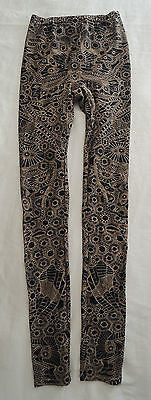 ~ ALEXANDER McQUEEN BLACK & NUDE INTARSIA PRINT LEGGINGS / PANTS (YES!) ~ S