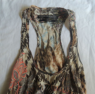 ~ ALL SAINTS SAFARI PRINT SILK SLEEVELESS A-LINE BLOUSE TOP  ~ US 4 / UK 8