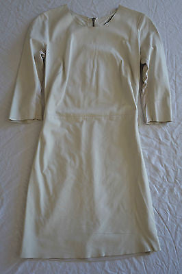 ~ RAQUEL ALLEGRA CREAM LEATHER FRONT SHORT SLEEVE DRESS  1 / S