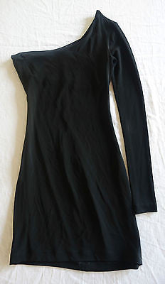 ~ THE ROW BLACK ONE SLEEVE JERSEY MINI DRESS (OMG!) ~  XS