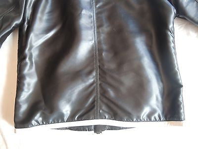 ~AUTHENTIC CHANEL NAVY NYLON AND WHITE LEATHER TRIM MOTO JACKET (I DIE!) F 34