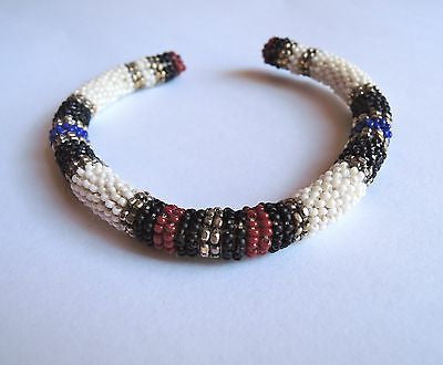 ~AUTHENTIC ISABEL MARANT WHITE, BLUE & RED BEADED CUFF BRACELET (WAY COOL!)