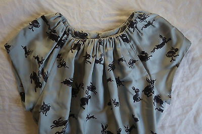 ~$2.5K CAROLINA HERRERA LIGHT BLUE BUNNY PRINTED SILK DRESS (SO ICONIC!) ~ 4