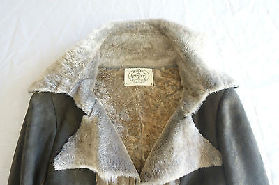~$3K NIGEL PRESTON TAUPE BROWN SUEDE & SHEARLING JACKET / COAT  ~  XS
