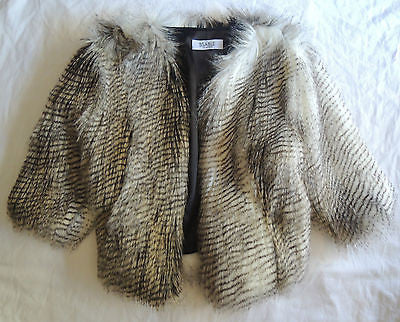 ~ BSABLE BROWN FAUX FUR JENNIE CROPPED JACKET / COAT (PURE GLAM) ~ XS