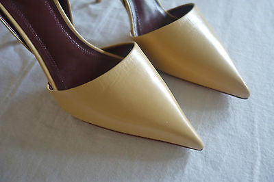 ~NEW CELINE NUDE LEATHER POINTED TOE D'ORSAY PUMPS / HEELS (SO HOT!) ~ 36.5