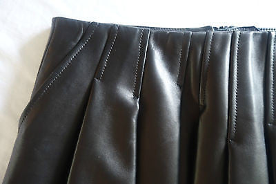 ~ ALEXANDER WANG BLACK PLEATED  LEATHER MINI SKIRT (TOTALLY OBSESSED) ~ US 4