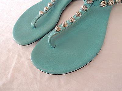 ~ BALENCIAGA TURQUOISE GIANT ARENA T STRAP THONG SANDALS (J'ADORE)  36.5