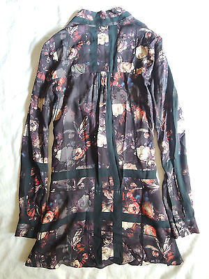 ~ THAKOON ADDITION FLORAL & PLAID PRINT LONG SLEEVE TUNIC DRESS  ~ 0