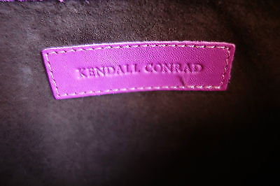 ~$675 KENDALL CONRAD PINK LEATHER WHIPSTITCHED LEATHER CLUTCH ~