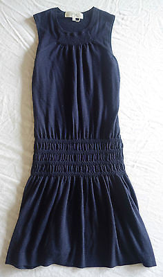 VANESSA BRUNO ATHE NAVY CASHMERE BLEND DROP WAIST DRESS  (FRENCH-GIRL CHIC!)  S