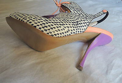 ~BRAND NEW NICHOLAS KIRKWOOD TRI-COLOR SNAKESKIN LACE UP SANDALS / HEELS ~ 36.5