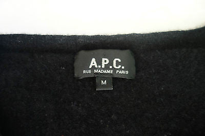 ~ A.P.C. BLACK CASHMERE SHORT SLEEVE TOP W/ POCKETS  (OHHH SO SOFT!)~ M