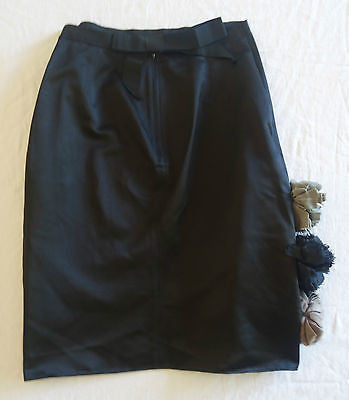 ~ LANVIN BLACK SILK SATIN ROSETTE DETAIL PENCIL SKIRT (SO STUNNING!) ~  F 40