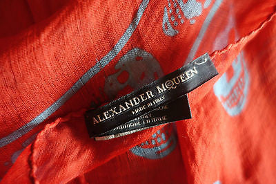 ~ ALEXANDER MCQUEEN RED & LIGHT BLUE SILK SKULL PRINT SCARF / WRAP  (A MUST!) ~