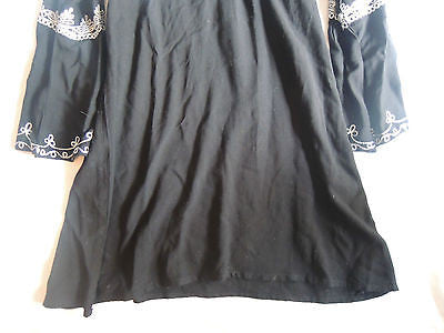 ~ CALYPSO BLACK EMBROIDERED COTTON MOROCCAN TUNIC DRESS   ~ S