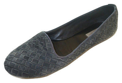 ~ BOTTEGA VENETA NAVY GRAY WOVEN SUEDE LOAFERS / FLATS (PREPPY COOL!!) ~ 36