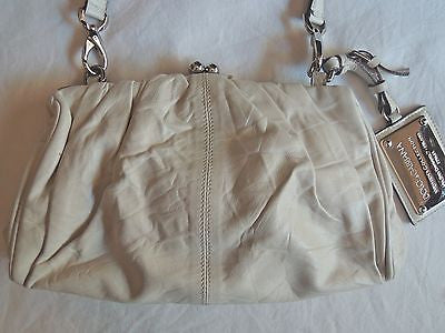 AUTHENTIC DOLCE & GABBANA IVORY RUCHED LEATHER MISS CURLY SHOULDER BAG (DIVINE!)