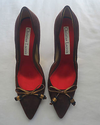 ~ CHRISTIAN LACROIX BROWN SUEDE BOW PUMPS / HEELS (CLASSIC!)~ 40.5