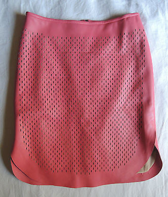 REED KRAKOFF PINK PERFORATED LAMBSKIN LEATHER CURVED HEM SKIRT