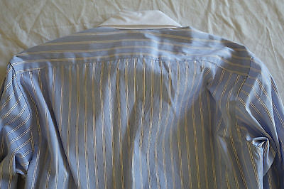 ~ CHARLOTTE GAINSBOURG BLUE &  WHITE STRIPED COTTON POPLIN BOYFRIEND SHIRT ~ 0