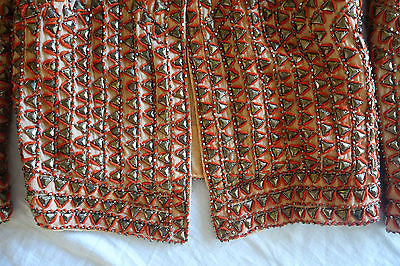 ~ CALYPSO PEACH ORANGE & METAL EMBROIDERED BEADED JACKET (CELEB FAVE!)  2 / M