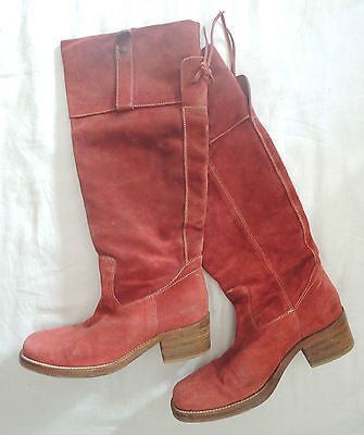 ~ BARNEY'S COOP RED SUEDE KNEE HIGH BOOTS / BOOTIES (LOVE!) ~ 37