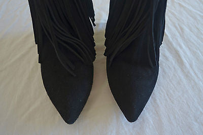 ~ ELYSE WALKER BLACK SUEDE FRINGE TRIM WEDGED ANKLE BOOTS / BOOTIES  ~  36