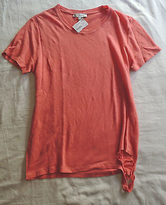 ~ NWT IRO PINK RED SHORT SLEEVE LINEN POPPY TEE TOP (TOUGH-GIRL COOL!)  ~ S