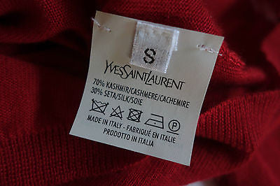 ~ YVES SAINT LAURENT YSL RED CASHMERE CARDIGAN SWEATER (PURE LUXURY)  ~ S