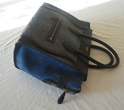~AUTHENTIC CELINE BLUE SUEDE & PYTHON LARGE LUGGAGE PHANTOM BAG ~