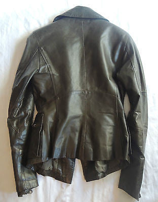 ~ KAPALUA OLIVE LEATHER MOTO JACKET (BIKER BABE CHIC!)  F 40 / US 8
