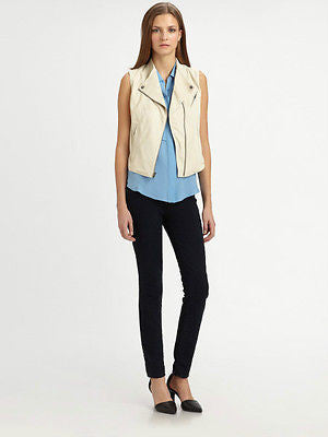 ~$865 THEORY IVORY LEATHER ZIDA MOTORCYCLE VEST IN BONE (TOUGH-GIRL CHIC!) M