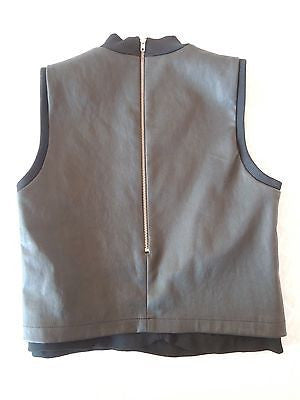 ~NWT $674 A.L.C. BLACK LEATHER SLEEVELESS TOP (EDGY MEETS CHIC) 2