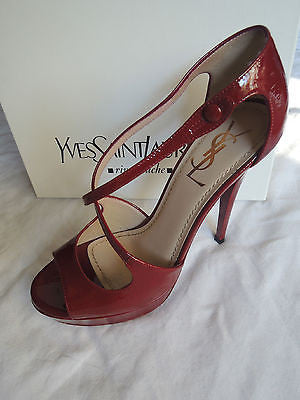 YVES SAINT LAURENT YSL ROUGE RED PATENT LEATHER TRIBUTE HEELS / SANDALS  37.5