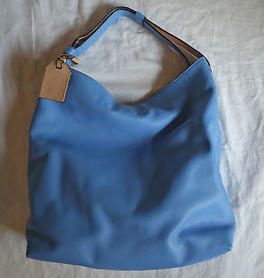 AUTHENTIC $2K NEW REED KRAKOFF BLUE LEATHER HOBO TOTE BAG ~