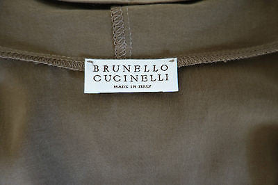 BRUNELLO CUCINELLI OLIVE KHAKI CHAIN TRIM SLEEVELESS SILK TOP ~  M