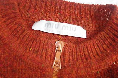 ~ MIU MIU / PRADA BLOOD ORANGE  ZIP UP CARDIGAN SWEATER (OH SO CUTE!)  38