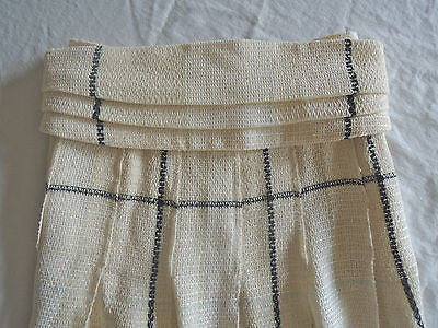 ~ AUTHENTIC CHANEL IVORY & BLACK TWEED BOUCLE BELTED PLEATED SKIRT (DIVINE!)~ 36