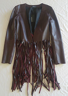 NWT $1.6K THE PERFEXT OXBLOOD FRINGE LEATHER CHRISTY JACKET (IN STORES NOW)  M