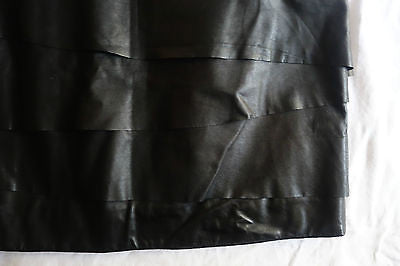 ~ ACNE BLACK PLEATED RUFFLE LEATHER MINI SKIRT (TOTALLY OBSESSED) ~ 38