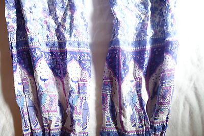 ~ VINTAGE INDIAN COTTON PURPLE ELEPHANT PRINT TAPERED PANTS (LOVE THESE!) S