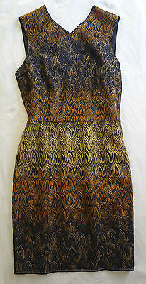 MISSONI ORANGE LABEL GLIMMERY OMBRE CHEVRON KNIT SLEEVELESS DRESS
