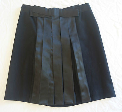 ~ LANVIN BLACK WOOL & SILK RIBBON DETAIL A-LINE SKIRT (A WORK OF ART!) ~  F 42